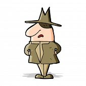 cartoon man in coat and hat