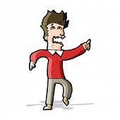 cartoon frightened man pointing