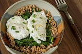 stock photo of sauteed  - Poached eggs served over fresh sauteed spinach leaves and farro - JPG