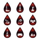 Set of icons in the oil droplets.