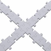 ?3D Grey Puzzle Intersection On White