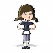 cartoon happy waitress woman