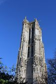 PARIS, FRANCE - NOV 06, 2012: St-Jacques Tower is 52-meters (171 ft) Flamboyant Gothic tower is all