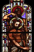 PARIS, FRANCE - NOV 11, 2012: Baptism of the Lord, stained glass from Church of St-Germain-l'Auxerr