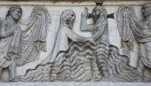 PARMA, ITALY - MAY 01, 2014: Baptism of Jesus Christ on the baptistery from Benedetto Antelami. Bapt