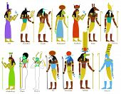 stock photo of goddess  - A set of ancient Egyptian gods and goddesses illustrations - JPG