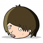 foto of raised-eyebrow  - cartoon female face with raised eyebrow - JPG