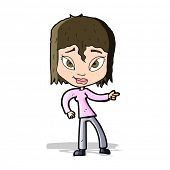 cartoon relaxed woman pointing