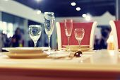 Served fashion table with glases