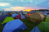 BIG ZAVIDOVO, RUSSIA - JULY 4: Campsite on open-air rock festival
