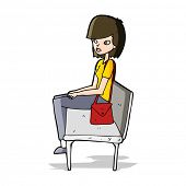 cartoon woman sitting on bench