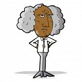 cartoon big hair lecturer man