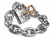 Padlock And Chain. Security Concept