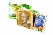 pic of nelson mandela  - south african banknotes in colors of green brown and blue - JPG