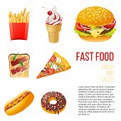 7 fast food icons over white background