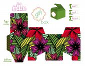 Printable Gift Box With Bright Flowers Pattern