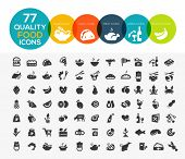 77 High quality food icons, including meat, vegetable, fruits, seafood, desserts, drink, dairy produ