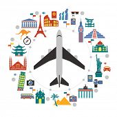 Flat design travel background with landmarks icons and airplane. concept of traveling around the wor