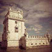 The Belem Tower in Lisbon, Portugal with retro effect.
