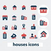 houses, buildings, icons, signs, symbols, vector set