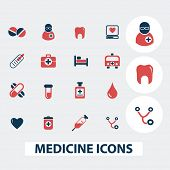 medicine, health icons, signs, symbols set, vector