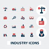 industry, business, construction icons, signs, symbols, vector set