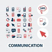 communication, connection, network, icons, signs, symbols, vector set
