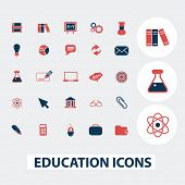 education, science, school icons, signs, symbols set, vector