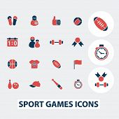 sport, games, fitness icons, signs, symbols, vector set