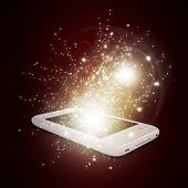 Mobile with magic light and falling stars