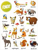 forest animals: bear, titmouse, fox, deer, firefly, doe, nightingale,  blackcock, pheasant, hamster,