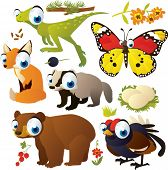 vector cartoon animal set: dinosaur, butterfly, fox, bear, blackcock, nest, badger