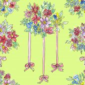 Seamless pattern.Bouquet of colored flowers,  with a red ribbon. Handdrawn