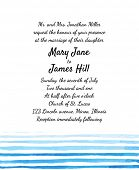 Wedding Invitation with watercolor lines. Template Wedding invitations or announcements