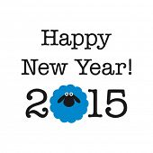 stock photo of sheep  - 2015 new year card with sheep - JPG