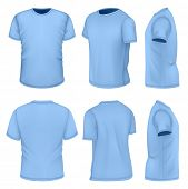 All six views men's blue short sleeve t-shirt design templates. Photo-realistic vector illustration.