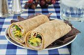 pic of sandwich wrap  - A turkey or chicken wrap sandwich with blue corn tortilla chips - JPG