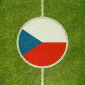 Football field center closeup with Czech republic flag in circle