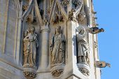 PARIS, FRANCE - NOV 06, 2012: Statues of Saint, St-Jacques Tower is 52-meters (171 ft) Flamboyant Go