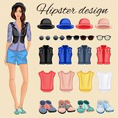 Hipster girl elements