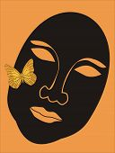 Face with orange butterfly