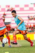 Sisaket Thailand-july 6: Sarayuth Chaikamdee Of Sisaket Fc. In Action During A Training Ahead Thai P