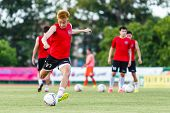Sisaket Thailand-july 6: Chotinan Theerapatpong Of Chainat Hornbill Fc. In Action During A Training