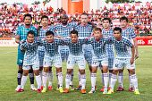 Sisaket Thailand-july 6: Players Of Chainat Hornbill Fc. Pose For A Team Picture Prior To Thai Premi