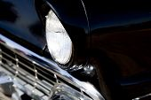 Sixties Classic Black Car Front End Close Up