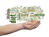 Concept or conceptual abstract diet and health word cloud in human man hand isolated on white backgr