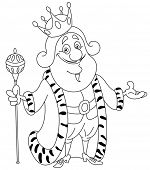 Outlined king. Vector illustration coloring page.