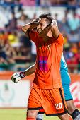 Sisaket Thailand-july 6: Tatree Seeha Of Sisaket Fc. (orange) In Action During Thai Premier League B