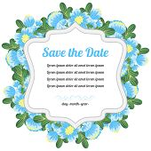 Round Retro Card With Blue Flowers