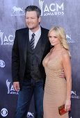 LOS ANGELES - APR 06:  Blake Shelton & Miranda Lambert arrives to the 49th Annual Academy of Country